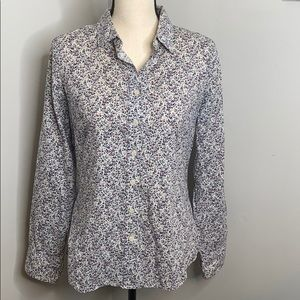 J. Crew white and purple floral button down - S